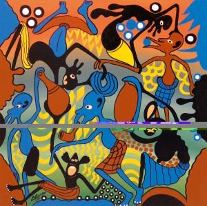 image003ridotta- 1984-George LILANGA-Fumare viaggiando-olio su masonite-61,2x61
