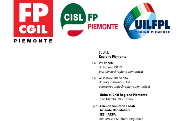 CGIL Piemonte FP CISL piemonte UIL FPL Piemonte – emergenza Covid-2019