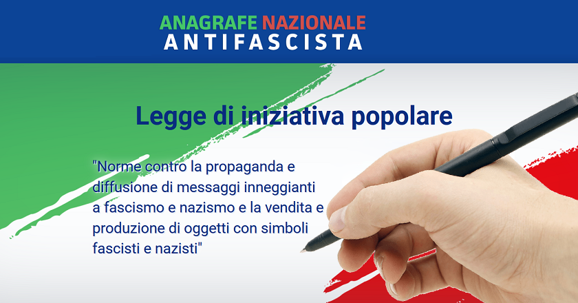 Progetto di Legge di iniziativa popolare contro la propaganda e la diffusione di messaggi inneggianti al fascismo